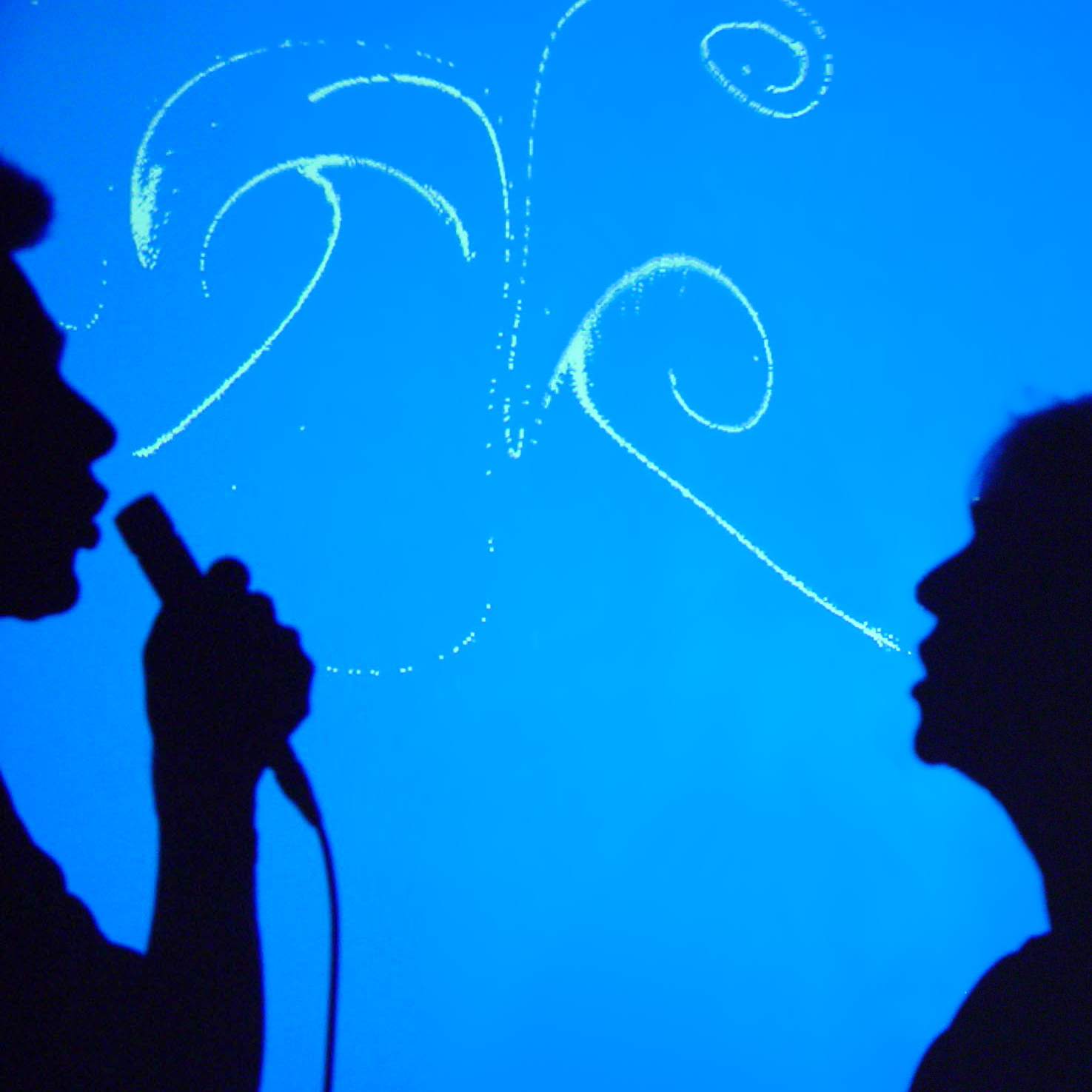 Shadows of two people speaking into microphones, with swirls being projected, seemingly from their mouths.